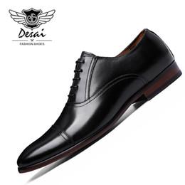 Полные кожаные ботинки онлайн-DESAIDESAI  Full Grain Leather Business Man Dress Shoes Retro Patent Genuine Leather Oxford Shoes For Men Size EU 38-47