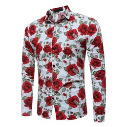 Wholesale Chinese Top Blouse - Vintage Flower Print Men Shirt Chinese Style Festive Male Blouse Party Casual Blouses Handsome Man Cotton Tops 2018 Hot Sale