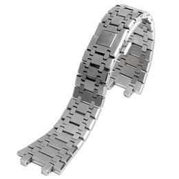 steel push button Promo Codes - 28mm Wrist Band Strap Solid Link Stainless Steel Bracelet Silver For AP Watch Push Button Replacement Men + 2 Spring Bars