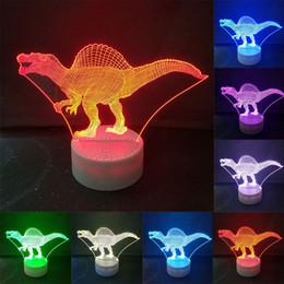 cadeaux décoratifs de bureau Promotion HOT Dinosaur 3D coloré acrylique LED Night Light tactile 7 changement de couleur bureau Lampe de table Party lumière décorative cadeau de Noël