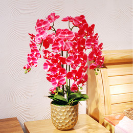 Wholesale Top Quality Silk Flowers - Top Quality Touch Butterfly orchid Potted set Artificial Hydrangea Silk flowers bonsai plants pot culture wedding Home Decor