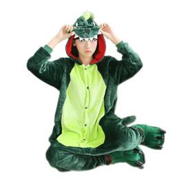 Wholesale Dinosaur Pyjamas - Green Dinosaur Pajamas Set Flannel Adult Pijama Mujer Hooded All In One Pajamas Animal Sleepwear Womens Pyjamas Halloween