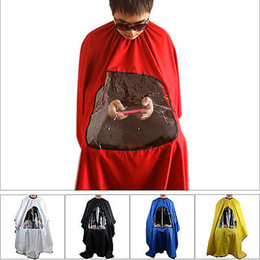 Wholesale Hairdressing Aprons Wholesale - Fashion Red Hair Cutting Aprons Cape Pro Salon Barber Hairdressing Gown with Viewing Window Salon Aprons