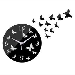 Wholesale Top Wall Art - 2018 new top DIY wall clocks 11 butterflies home decor acrylic mirror stickers clock art quartz watches free shipping