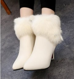 Wholesale Famous Points - Big star qiu dong's new south Korean edition of the famous brand real rabbit hair drip-top high heels and skinny boots