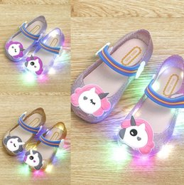 Zapatos intermitentes para niños online-Mini LED Flash Nuevo Verano Melissa Sandalias Zapatos Jelly Shoe Girl antideslizante Melissa Kids Sandal Toddler