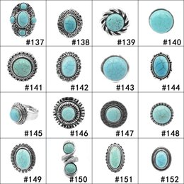 Wholesale costume jewelry rings wholesale - Retro Turquoise Rings 152 styles Punk Style Green Natural Stone Rings Fashion Costume Gemstone Female&Male Ring Jewelry as Gifts