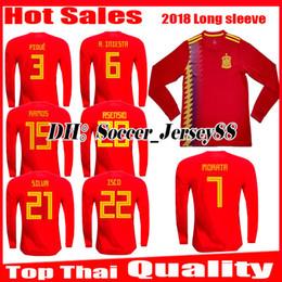 Wholesale Spain Long Sleeve - 2018 2019 Spain World Cup Espana long sleeve Morata Soccer Jersey A.INIESTA FABREGAS RAMOS DIEGO COSTA SILVA ISCO Home jerseys Football