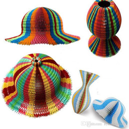 2019 papeles mágicos Magic Vase Paper Hats Sombrero plegable hecho a mano para decoraciones de fiesta Gorras de papel divertido Travel Sun Hats Colorful rebajas papeles mágicos
