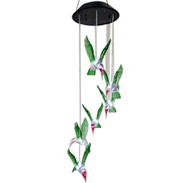 solar light chimes Promo Codes - Humming Bird Solar Power LED Solar Light Lighted Yard Led Outdoor Light Garden Path Decoration Wind Chime Lamp White