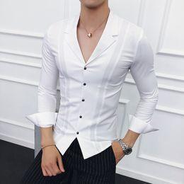 progettista dimagrente adatta il nero bianco Sconti Uomini vestiti 2018 Abiti Collar Camicie Uomo Camicie bianche Mens Blu Designer Black Camisa Social Masculina Slim Fit Gömlek
