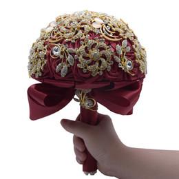 fã de ouro rosa Desconto Moda de luxo de cristal strass buquês de casamento artesanal de noiva flores nobres princesa flores