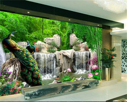 Wholesale Bamboo Wall Murals - 3D Wall Mural Natural Scenery Wallpaper Landscape Bamboo Forest Falls Peacock Bedding Room 3D Non-woven Wall Paper TV Background