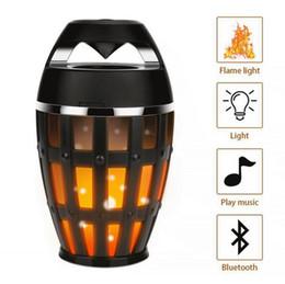 Wholesale Bt Light - Fire Effect Bluetooth BT Speaker Wireless Led Flame Soft Light Dancing Flicker Torch Outdoor Lamp Bass Sound V4.2 Speaker