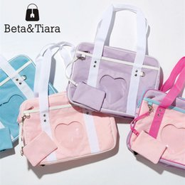 Wholesale School Uniform Pink - 2017 Ita Bag Japanese Canvas Tote Bag Girls Heart Window School JK Uniform Handbag Bao Bao Pink Lolita Wego 4 Colors