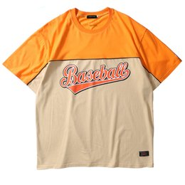 Wholesale Block Shirt - Men's T-Shirts Color Block Pathchwork T-Shirts Hip Hop Baseball Printed Short Sleeve Streetwear Tops Tees 2018 Casaul Cotton Tshirts