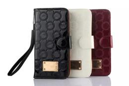 Wholesale black patent wallet - Hot Fashion Designer Patent Leather Wallet Case For iPhone X 8 7 7plus 6 6s Plus Luxury Flip Case for Galaxy S9 S9plus S8 S7 edge