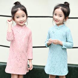 vestidos de meninas asiáticas Desconto Vestido de renda tradicional asiática qipao roupas para crianças meninas do bebê