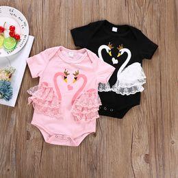 Ropa de cisne negro online-2018 bebés recién nacidos del cisne del cordón del mameluco Onesies negro rosa de manga corta del verano del bebé ropa de las muchachas del bebé ropa para niños 0-24 M
