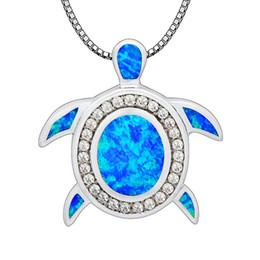 Azul Ópalo de Fuego Joyería de Moda Al Por Mayor Plateado Plata Preciosa Tortuga de Mar Colgantes y Collar Para Las Mujeres PJ17091306 desde fabricantes