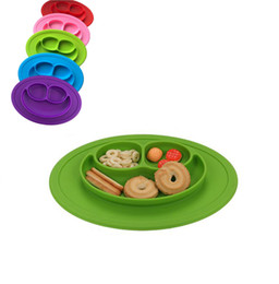 Wholesale Baby Silicone Placemat - Baby silicone placemat meal plate mat feeding bowl smile face shape kids toddlers infant baby placemat portable roll up