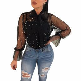 Wholesale pearl s - Adogirl Sheer Mesh Pearls Women Sexy Crop Tops Blouses Bow Tie Long Sleeve Shirts Summer Beach Cover Up Ladies Blouses