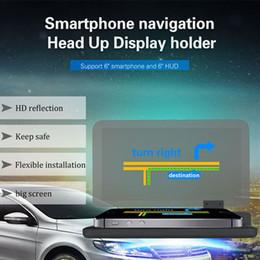 système d'alarme moto gps Promotion Voiture HUD Head Up Display Support Voiture Mobile Support de Téléphone Pour iPhone Pour Samsung GPS avec Reflection Film Glass Board Projecteur H6