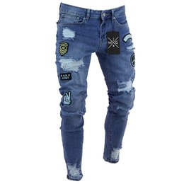 Wholesale pants jeans for men - hirigin Men Jeans 2018 Stretch Destroyed Ripped applique Design Fashion Ankle Zipper Skinny Jeans For Men