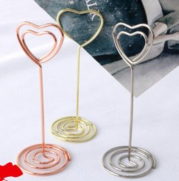 Wholesale wedding holder for cards - Heart Shape Photo Holder Stands Table Number Holders Place Card Paper Menu Clips For Wedding Party Decoration DDA541