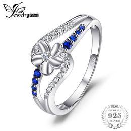 Flor de safira azul on-line-Jewelrypalace simples 0.3ct criado blue sapphire flor anel genuíno 925 sterling silver charme festa moda mulheres fine jewelry