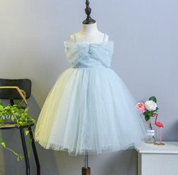 Wholesale Tulle Clothing Wholesale - DHL free girl clothing 2018 girl dress off shoulder embroidery flowers with beading princess dress girl's elegant soft summer dress 2 colors