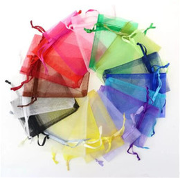 Wholesale Organza Bags 9cm - Wholesale Jewelry Bags MIXED Organza Jewelry Wedding Party Xmas Gift Bags Purple Blue Pink Yellow Black With Drawstring 7*9cm B11