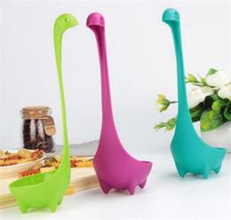 Wholesale cook tools - Plastic Soup Cute Cartoon Spoon Nessie Ladle Large Soup Spoon Long Handle Scoop Kitchen Utensils Cooking Tools C118