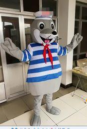 Wholesale Characters Cartoon Mascot Costumes - hot sell High quality Navy Sea Lion mascot costume Mascot Cartoon Character Costume Adult Size free shipping