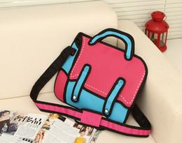 96604cda51a5 New Fashion Woman Bags Novelty Back To School Bag 3D Drawing Cartoon Paper  Comic Handbag Women Shoulder Bag Messenger