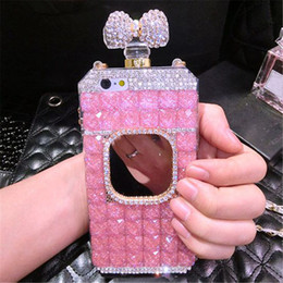 Wholesale iphone bows - For iphone 5 5s se 6 6s 7 8 plus X Luxury Diamond Perfume Bottle Bow Rose Mirror chain case