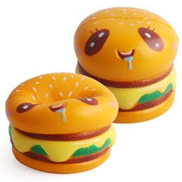 Wholesale Cartoon Hamburger - Squishy Toy Yummy Hamburger Cute Cell Phone Strap Gift For Children Toy Cartoon Slow Rising For Children Relieves Stress Anxiety