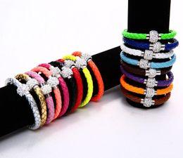 Wholesale Magnetic Hot Plate - Hot Sale PU Leather Bracelet Shamballa CZ Disco Crystal Bracelet Fashion Magnetic Clasp Bracelet Wristband Jewelry