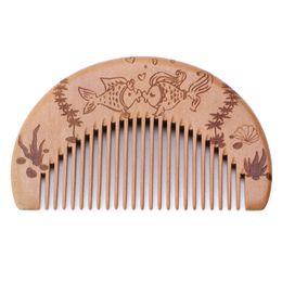 Wholesale Fine Beard - Natural Peach Wood Comb Fine Teeth Anti-static Head Massage Beard Hair Care