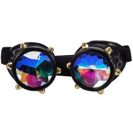 Óculos de soldagem on-line-FLORATA Steampunk Óculos Caleidoscópio Rainbow Cristal Lente Colorida Cosplay Partido Óculos Vintage Óculos de Soldadura Gótico