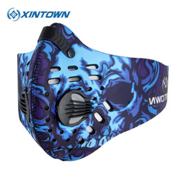 Máscara de filtro de ciclismo de neoprene on-line-Máscara XINTOWN Men Ciclismo face Sports respirável Carbono Filtros Máscaras de bicicleta poeira poluição atmosférica protecção Meia cara Neoprene máscara PM2.5