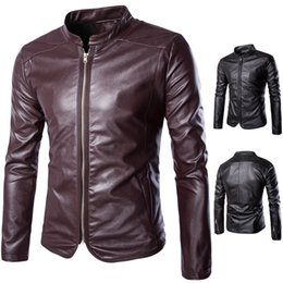 2018 мужская осень и зима Англия кожа мотоцикла PU кожаная куртка Тонкий мужской мотоцикл кожаная куртка 5XL от