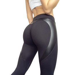 wholesale leather leggins Australia - Women High Waist Black Leggins Push Up Sexy Hip Patchwork Leather Pants Bodybuilding Sportswear Leggings Ladies Autumn Leggings
