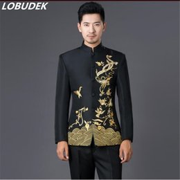 Wholesale Tunics For Men - Male formal dress blue and white porcelain black and white suits slim chinese tunic suit for singer dancer star