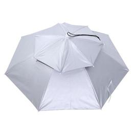 77 cm Große Doppelschicht Angeln Regenschirm Hut Radfahren Wandern Camping Strand Sonnenschirm Sunny Regnerischen Anti-Uv-kappe für Männer Frauen Kinder von Fabrikanten