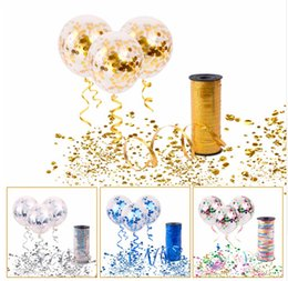 Wholesale bubbles birthday party - 10pcs Clear and transparent Confetti Ballons with 100Y Curling Ribbon Wedding Balloons Happy Birthday Balloon Wedding Event Party Decor