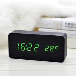 fern-portable alarm Rabatt Heißer hölzerner LED-Wecker mit Temperaturgeräuschen Kontrollkalender LED-Anzeige Elektronische Tischdigital Tischuhr LXY9 DE17