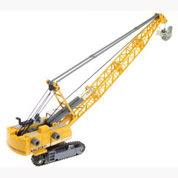 Wholesale Toy Model Excavators - Alloy Diecast 1:87 Crawler Tower Cable Excavator Diecast Model Engineering Vehicle Tower Crane Collection Gift for Kids Toy