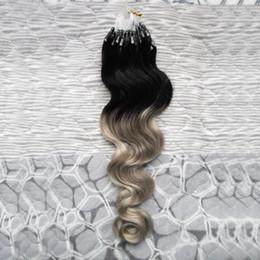 микрообъёмное удлинение ombre Скидка 7A Ombre бразильские микро-нано-петлевые волосы 100G Body Wave Silver Grey Hair Extensions micro 1G Virgin Micro Ring для наращивания волос
