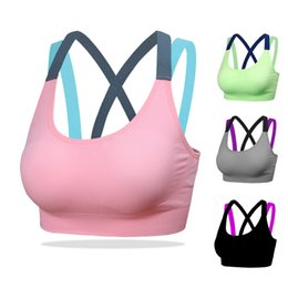 Wholesale Womens Unlined Bras - 100pcs Fitness Yoga Push Up Sports Bra for Womens Gym Running Padded Tank Top Athletic Vest Underwear Shockproof Strappy Sport Bra Top